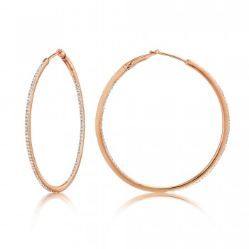 Diamond 39mm Round Skinny Hoop Earrings 14K Rose Gold (0.39CT) Marvelously designed in 14K Gold and Diamond Round Thin Hoops Fashion Earrings to give off a striking air without compromising a clean look. A generous amount if precisely placed white diamonds, this new take in the classic petite round hoop earring.  It's a perfect accessory for intimate occassions like Anniversary, Christmas, and New Year or just casual family dinners. This fine piece of jewlery also makes an ideal Graduation and Mother's day present. The diamonds in this earring set are in GH color SI1-SI2 clarity.