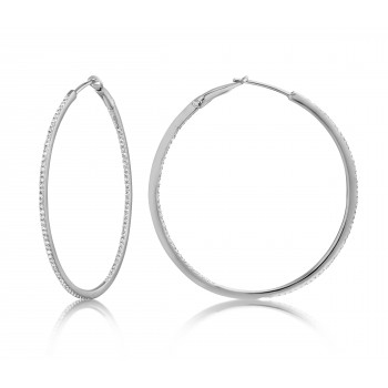 Diamond 39mm Round Skinny Hoop Earrings 14K White Gold (0.39CT) Marvelously designed in 14K Gold and Diamond Round Thin Hoops Fashion Earrings to give off a striking air without compromising a clean look. A generous amount if precisely placed white diamonds, this new take in the classic petite round hoop earring.  It's a perfect accessory for intimate occassions like Anniversary, Christmas, and New Year or just casual family dinners. This fine piece of jewlery also makes an ideal Graduation and Mother's day present. The diamonds in this earring set are in GH color SI1-SI2 clarity.