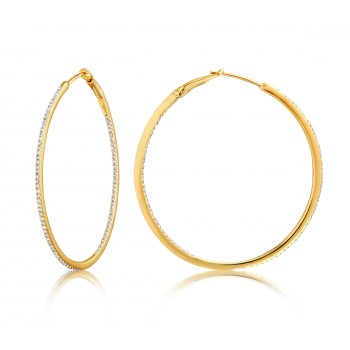 Diamond 39mm Round Skinny Hoop Earrings 14K Yellow Gold (0.39CT) Marvelously designed in 14K Gold and Diamond Round Thin Hoops Fashion Earrings to give off a striking air without compromising a clean look. A generous amount if precisely placed white diamonds, this new take in the classic petite round hoop earring.  It's a perfect accessory for intimate occassions like Anniversary, Christmas, and New Year or just casual family dinners. This fine piece of jewlery also makes an ideal Graduation and Mother's day present. The diamonds in this earring set are in GH color SI1-SI2 clarity.