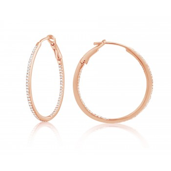 Diamond 30mm Round Skinny Hoop Earrings 14K Rose Gold (0.26CT) Marvelously designed in 14K Gold and Diamond Round Thin Hoops Fashion Earrings to give off a striking air without compromising a clean look. A generous amount if precisely placed white diamonds, this new take in the classic petite round hoop earring.  It's a perfect accessory for intimate occassions like Anniversary, Christmas, and New Year or just casual family dinners. This fine piece of jewlery also makes an ideal Graduation and Mother's day present. The diamonds in this earring set are in GH color SI1-SI2 clarity.