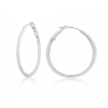 Diamond 30mm Round Skinny Hoop Earrings 14K White Gold (0.26CT) Marvelously designed in 14K Gold and Diamond Round Thin Hoops Fashion Earrings to give off a striking air without compromising a clean look. A generous amount if precisely placed white diamonds, this new take in the classic petite round hoop earring.  It's a perfect accessory for intimate occassions like Anniversary, Christmas, and New Year or just casual family dinners. This fine piece of jewlery also makes an ideal Graduation and Mother's day present. The diamonds in this earring set are in GH color SI1-SI2 clarity.