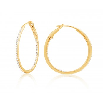 Diamond 30mm Round Skinny Hoop Earrings 14K Yellow Gold (0.26CT) Marvelously designed in 14K Gold and Diamond Round Thin Hoops Fashion Earrings to give off a striking air without compromising a clean look. A generous amount if precisely placed white diamonds, this new take in the classic petite round hoop earring.  It's a perfect accessory for intimate occassions like Anniversary, Christmas, and New Year or just casual family dinners. This fine piece of jewlery also makes an ideal Graduation and Mother's day present. The diamonds in this earring set are in GH color SI1-SI2 clarity.