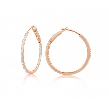 Diamond 25mm Round Skinny Hoop Earrings 14K Rose Gold (0.20CT) Marvelously designed in 14K Gold and Diamond Round Thin Hoops Fashion Earrings to give off a striking air without compromising a clean look. A generous amount if precisely placed white diamonds, this new take in the classic petite round hoop earring.  It's a perfect accessory for intimate occassions like Anniversary, Christmas, and New Year or just casual family dinners. This fine piece of jewlery also makes an ideal Graduation and Mother's day present. The diamonds in this earring set are in GH color SI1-SI2 clarity.