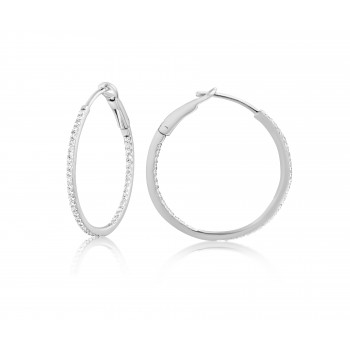 Diamond 25mm Round Skinny Hoop Earrings 14K White Gold (0.20CT) Marvelously designed in 14K Gold and Diamond Round Thin Hoops Fashion Earrings to give off a striking air without compromising a clean look. A generous amount if precisely placed white diamonds, this new take in the classic petite round hoop earring.  It's a perfect accessory for intimate occassions like Anniversary, Christmas, and New Year or just casual family dinners. This fine piece of jewlery also makes an ideal Graduation and Mother's day present. The diamonds in this earring set are in GH color SI1-SI2 clarity.
