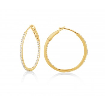 Diamond 25mm Round Skinny Hoop Earrings 14K Yellow Gold (0.20CT) Marvelously designed in 14K Gold and Diamond Round Thin Hoops Fashion Earrings to give off a striking air without compromising a clean look. A generous amount if precisely placed white diamonds, this new take in the classic petite round hoop earring.  It's a perfect accessory for intimate occassions like Anniversary, Christmas, and New Year or just casual family dinners. This fine piece of jewlery also makes an ideal Graduation and Mother's day present. The diamonds in this earring set are in GH color SI1-SI2 clarity.