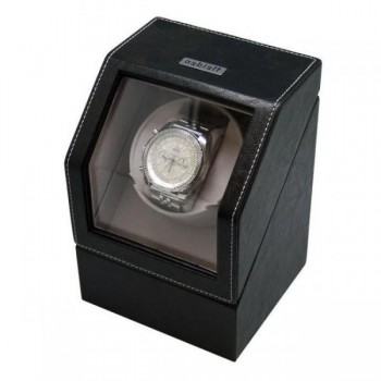 Black Leather Battery Powered Single Automatic Watch Winder Box A watch winder has a simple yet significant purpose: to keep your automatic watches winded and ready to wear at a moments notice. Our sleek black leather watch winder box holds ups to one automatic watch and can be powered by batteries (C size) or AC adapter.This watch winder case has an light grey velvet interior with a pillow cushion to ensure your timepiece is protected from scratches. Furthermore, this watch winder case has a clear display top which will show off your watch, while also making for a great way to store it. This watch winder is hand made and is compatible with many popular brands of timepieces. Each motor has individual settings.