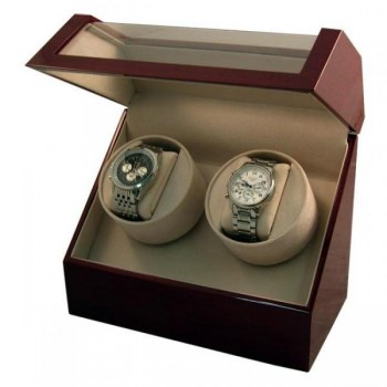 Battery Powered Dual Automatic Watch Winder in Cherrywood Watch winders are essential accessories for anyone who collects automatic watches or wishes to start. To keep your timepieces running smoothly, our watch winders will keep your resting watches winded by mimicking the natural motions of your wrist.This automatic dual watch winder holds two watches (oversized ones, too) and can be powered by batteries (D size) or AC adapter. This watch winder is featured in Cherrywood and will look great on your dresser. This watch winder box also stores your self-winding watches and displays both off with its clear top.Each motor has individual settings and separate controls; hand made and developed to wind all popular brands of timepieces.