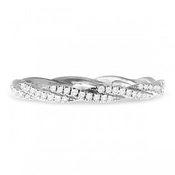 Hidalgo Micro Pave Braided Diamond Ring Band 18k White Gold (0.13ct)