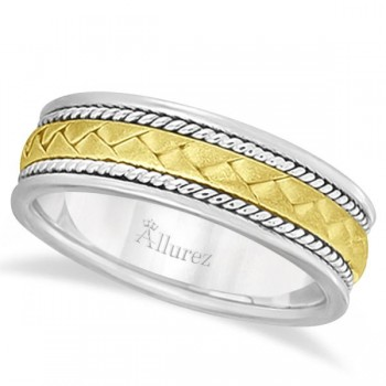 Men's Matt Finish Handwoven Wedding Ring 14k Two-Tone Gold (7mm) This contemporary multi-tone hand woven ring for men features a unique braided design in the center and is crafted in 14k white and yellow gold. The modern hand made two-tone gold ring has a wide band that is matt finish in the middle and is high polish finish on the sides.This antique rope style ring is comfort-fit with rounded inside edges to provide a perfect fit for him.Wear this handmade ring band for gents as a wedding band, as an anniversary ring, or as a fancy right hand fashion ring.Also available in other finishes, other widths, and other precious metals.