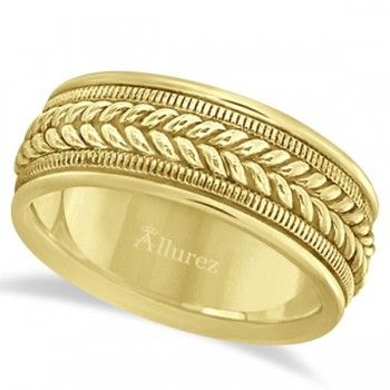 Woven Milgrain Edge Wedding Ring For Men 14k Yellow Gold (8mm) This contemporary handmade ring for gents features a unique braided design in the center with milgrain edges along the sides and is crafted in 14k yellow gold. The hand woven cool ring has a wide band that is high polish finished. This hand made rope style ring is comfort-fit with rounded inside edges to provide a perfect fit for him.Wear this handwoven ring band for men as a wedding band, as an anniversary ring, or as a fancy right hand fashion ring.Also available in other finishes, other widths, and other precious metals.