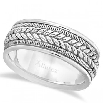 Woven Milgrain Edge Wedding Band For Men 18k White Gold (8mm) This contemporary handmade 18k white gold ring for men features a unique braided design in the center with milgrain edges along the sides. The hand woven ring has a wide band that is high polish finished. This hand made rope style ring is comfort-fit with rounded inside edges to provide a perfect fit for him.Wear this handwoven cool ring band for gents as a wedding band, as an anniversary ring, or as a fancy right hand fashion ring.Also available in other finishes, other widths, and other precious metals.