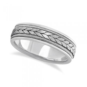 Men's Satin Finish Rope Handwoven Wedding Ring 14k White Gold (6mm) This contemporary handmade 14k white gold ring for men features a unique braided design in the center with milgrain edges along the sides. The hand woven ring has a wide band that is satin finish in the middle and high polish finished on the sides.This hand made rope style ring is comfort-fit which means it has rounded edges, both inside and out, to provide you with the ultimate comfort.Wear this handwoven ring band for gents as a wedding band, as an anniversary ring, or as a fancy right hand fashion ring.Also available in other finishes, other widths, and other precious metals.