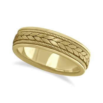 Men's Satin Finish Rope Handwoven Wedding Ring 14k Yellow Gold (6mm) This stylish handmade ring for gents features a unique braided design in the center with milgrain edges along the sides and is crafted in 14k yellow gold. The hand woven ring has a wide band that is satin finish in the middle and high polish finished on the sides.This hand made rope style ring is comfort-fit with rounded inside edges to provide a perfect fit for him.Wear this handwoven ring band for men as a wedding band, as an anniversary ring, or as a fancy right hand fashion ring.Also available in other finishes, other widths, and other precious metals.