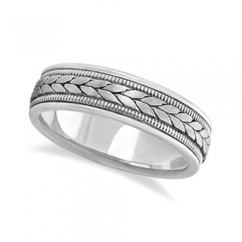 Men's Satin Finish Rope Handwoven Wedding Band Palladium (6mm) This modern hand made ring for gents features a unique braided design in the center with milgrain edges along the sides and is crafted in palladium. The handwoven ring has a wide band that is satin finish in the middle and high polish finished on the sides.This handmade rope style ring is comfort-fit, which means it has rounded edges, both inside and out, to provide you with the ultimate comfort.Wear this hand woven ring band for men as a wedding band, as an anniversary ring, or as a fancy right hand fashion ring.Also available in other finishes, other widths, and other precious metals.