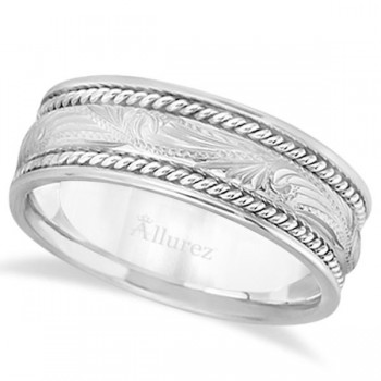 Fancy Carved Vintage Style Wedding Ring Band For Men Palladium (7.5mm) This modern handmade wide wedding band is elegantly carved with a unique and stylish design. Made of palladium, this antique inspired band includes a high polished finish and is a comfort-fit band, which means it has rounded inside edges to provide you with the ultimate comfort.Wear this wide hand made shiny ring band for men as a wedding band, as an anniversary ring, or as a fancy right hand fashion ring.Also available in other widths, and other precious metals.
