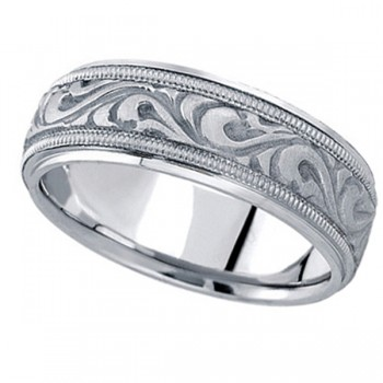 Antique Style Handmade Wedding Band in 18k White Gold (7.5mm) A stunning work of art this antique style handmade wedding band is sure to become a lasting symbol of your love and commitment. This is a comfort-fit band, which means it has rounded inside edges to provide you with the ultimate comfort. This ring is also available in 18k yellow gold, 18k two tone gold, 14k gold, platinum, and palladium.