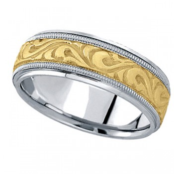 Antique Style Handmade Wedding Band in 18k Two Tone Gold (7.5mm) A stunning work of art this antique style handmade wedding band is sure to become a lasting symbol of your love and commitment. This is a comfort-fit band, which means it has rounded inside edges to provide you with the ultimate comfort. This ring is also available in 18k white gold, 18k yellow gold, 14k gold, platinum, and palladium.