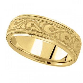Antique Style Handmade Wedding Band in 18k Yellow Gold (7.5mm) A stunning work of art this antique style handmade wedding band is sure to become a lasting symbol of your love and commitment. This is a comfort-fit band, which means it has rounded inside edges to provide you with the ultimate comfort. This ring is also available in 18k white gold, 18k two tone gold, 14k gold, platinum, and palladium.