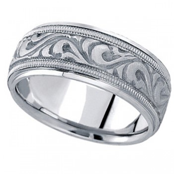 Antique Style Hand Made Wedding Band in 14k White Gold (9.5mm) A stunning work of art this antique style handmade wedding band is sure to become a lasting symbol of your love and commitment. This is a comfort-fit band, which means it has rounded inside edges to provide you with the ultimate comfort. This ring is also available in 14k yellow gold, 14k two tone gold, 18k gold, platinum, and palladium.