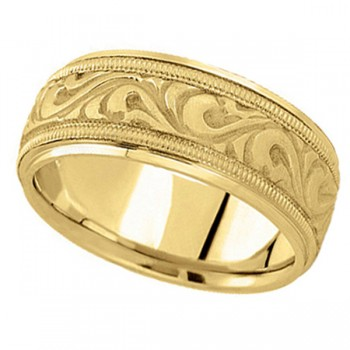 Antique Style Hand Made Wedding Band in 14k Yellow Gold (9.5mm) A stunning work of art this antique style handmade wedding band is sure to become a lasting symbol of your love and commitment. This is a comfort-fit band, which means it has rounded inside edges to provide you with the ultimate comfort. This ring is also available in 14k white gold, 14k two tone gold, 18k gold, platinum, and palladium.