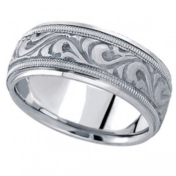 Antique Style Hand Made Wedding Band in 18k White Gold (9.5mm) A stunning work of art this antique style handmade wedding band is sure to become a lasting symbol of your love and commitment. This is a comfort-fit band, which means it has rounded inside edges to provide you with the ultimate comfort. This ring is also available in 18k yellow gold, 18k two tone gold, 14k gold, platinum, and palladium.