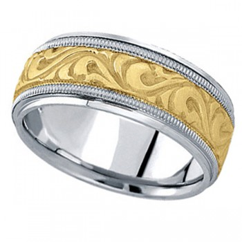Antique Style Hand Made Wedding Band in 18k Two Tone Gold (9.5mm) A stunning work of art this antique style handmade wedding band is sure to become a lasting symbol of your love and commitment. This is a comfort-fit band, which means it has rounded inside edges to provide you with the ultimate comfort. This ring is also available in 18k white gold, 18k yellow gold, 14k gold, platinum, and palladium.