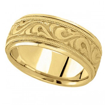 Antique Style Hand Made Wedding Band in 18k Yellow Gold (9.5mm) A stunning work of art this antique style handmade wedding band is sure to become a lasting symbol of your love and commitment. This is a comfort-fit band, which means it has rounded inside edges to provide you with the ultimate comfort. This ring is also available in 18k white gold, 18k two tone gold, 14k gold, platinum, and palladium.
