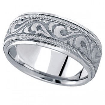 Antique Style Hand Made Wedding Band in Platinum (9.5mm) A stunning work of art this antique style handmade wide wedding band is sure to become a lasting symbol of your love and commitment. This is a comfort-fit band, which means it has rounded inside edges to provide you with the ultimate comfort. This ring is also available in 18k gold, and 14k gold.
