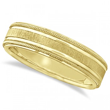 Carved Edged Milgrain Wedding Ring in 14k Yellow Gold (5mm) For men who seek a classic look with a touch of style, this carved wedding band is the perfect fit for him. Beautifully crafted in 14k Yellow Gold this band features milgrain and bright step edges. The satine center has satin finished edges to enhance your everyday look. This band is comfort fit, which means it has rounded inside edges providing an ultimate comfort for him to enjoy.Wear this as a right hand fashion ring.