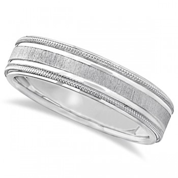 Carved Edged Milgrain Wedding Ring in Platinum (5mm) An intricate modern piece that entices a second look, this carved wedding ring is beautifully crafted in Platinum. This wedding band features beautiful milgrain and bright step edges. The satine center has satin finished edges, adding style and flare to your everyday look. This band is comfort fit, which means it has rounded inside edges providing an ultimate comfort for him to enjoy. Crafted in 18k Rose Gold.Wear this as a right hand fashion ring or an anniversary ring.