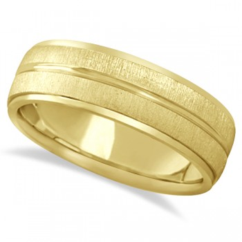 Modern Carved Wedding Band For Men in 14k Yellow Gold (7mm) Symbolize your love and devotion with this classic carved wedding ring for men. Beautifully crafted in 14k yellow gold, this band is combined with a satin and polished finish. This wedding band is comfort fit which provides an ultimate comfort without having to sacrifice style.You can also wear this cool ring as a right hand fashion ring.