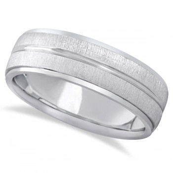 Modern Carved Wedding Band For Men in 18k White Gold (7mm) Show your love and devotion through this elegantly carved wedding ring for men. Beautifully crafted in 18k white gold, this band has a cross satin finish. Featuring a comfort fit wear this band exemplifies what comfort should feel like without having to sacrifice style.Wear this cool wedding band as a right hand fashion ring.