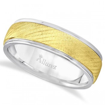 Diamond Cut Wedding Band For Men 18k Two Tone Gold (7mm) Enhance your everyday look with this diamond cut wedding band for men. Beautifully crafted in a two toned 18kt gold metal, this ring is rich with style. This band is a comfort fit which means it has rounded inside edges providing an ultimate comfort for him.Wear this gents ring as a wedding ring or as a right hand fashion ring.