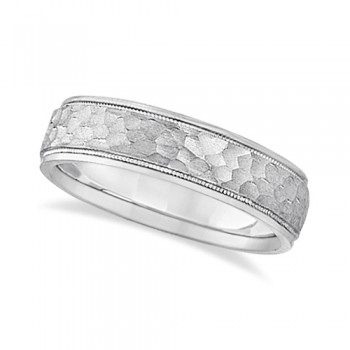 Mens Satin Hammer Finish Inlaid Wedding Band 18k White Gold (5mm) This contemporary men's designer ring crafted in 18kt white gold features a unique satin hammered finish inlay accented by high polish finished sides. The ring has a unique ridge edged design and milgrained edge engravings.For men that do not want to sacrifice style for comfort, this low dome styled band is comfort-fit with rounded inside edges to provide a perfect fit for him. Wear this modern gents ring as a wedding band, as an anniversary ring, or as a fancy right hand fashion ring. Available in other finishes and other precious metals.