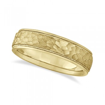 Mens Satin Hammer Finish Inlaid Wedding Band 18k Yellow Gold (5mm) This contemporary men's designer ring crafted in 18kt yellow gold features a unique satin hammered finish inlay accented by high polish finished sides. The ring has a unique ridge edged design and milgrained edge engravings.For men that do not want to sacrifice style for comfort, this low dome styled band is comfort-fit with rounded inside edges to provide a perfect fit for him. Wear this modern gents ring as a wedding band, as an anniversary ring, or as a fancy right hand fashion ring. Available in other finishes and other precious metals.