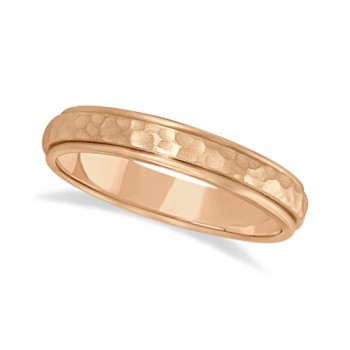 Satin Hammered Finished Carved Wedding Ring Band 14k Rose Gold (4mm) This modern carved design ring is crafted in 14kt pink gold (rose gold) and is ideal for men or for women. The ring has a unique satin hammer finished inlay and a ridged edge design. This gents/ladies inlaid band is comfort-fit with rounded inside edges to provide a perfect fit for him or for her. Wear this contemporary dome style men's or women's ring as a wedding band, as an anniversary ring, or as a fancy right hand fashion ring. Available in other finishes, other widths, and other precious metal types.