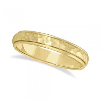Satin Hammered Finished Carved Wedding Ring Band 14k Yellow Gold (4mm) This modern carved design ring is crafted in 14kt yellow gold and is ideal for men or for women. The ring has a unique satin hammer finished inlay and a ridged edge design. This gents/ladies inlaid band is comfort-fit with rounded inside edges to provide a perfect fit for him or for her. Wear this contemporary dome style men's or women's ring as a wedding band, as an anniversary ring, or as a fancy right hand fashion ring. Available in other finishes, other widths, and other precious metal types.