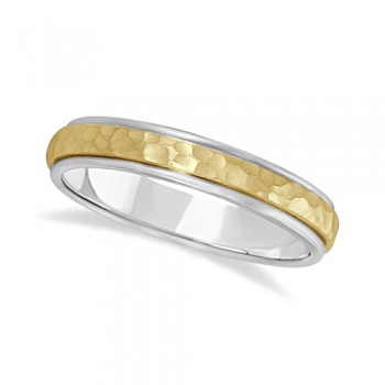 Satin Hammered Finished Carved Wedding Ring Band 18k Two-Tone Gold (4mm) This modern carved design ring is crafted in 18kt two-tone gold and is ideal for men or for women. The ring has a unique satin hammer finished inlay and a ridged edge design. This gents/ladies inlaid band is comfort-fit with rounded inside edges to provide a perfect fit for him or for her. Wear this contemporary dome style men's or women's ring as a wedding band, as an anniversary ring, or as a fancy right hand fashion ring. Available in other finishes, other widths, and other precious metal types.
