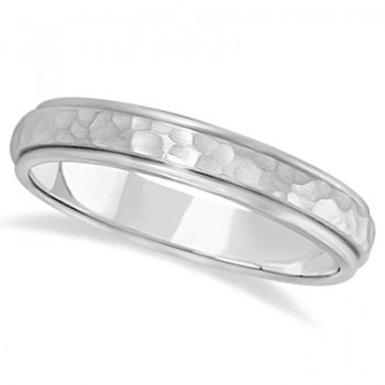 Satin Hammered Finished Carved Wedding Ring Band Palladium (4mm) This modern carved design ring is crafted in palladium and is ideal for men or for women. The ring has a unique satin hammer finished inlay and a ridged edge design. This gents/ladies inlaid band is comfort-fit with rounded inside edges to provide a perfect fit for him or for her. Wear this contemporary dome style men's or women's ring as a wedding band, as an anniversary ring, or as a fancy right hand fashion ring. Available in other finishes, other widths, and other precious metal types.