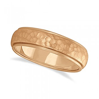 Mens Satin Hammer Finished Wedding Ring Wide Band 18k Rose Gold (6mm) This modern carved design ring is crafted in 18kt pink gold (rose gold) and is ideal for men. The unique ring has a satin hammer finished inlay and a ridged edge design. This inlaid band gentlemen's ring is comfort-fit with rounded inside edges to provide a perfect fit for him. Wear this contemporary dome style men's ring as a wedding band, as an anniversary ring, or as a fancy right hand fashion ring. Available in other finishes, other widths, and other precious metal types.