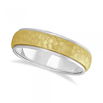 Mens Satin Hammer Finished Wedding Ring Wide Band 18k Two-Tone Gold (6mm) This modern carved design ring is crafted in 18kt two-tone gold and is ideal for men. The unique ring has a satin hammer finished inlay and a ridged edge design. This inlaid band gentlemen's ring is comfort-fit with rounded inside edges to provide a perfect fit for him. Wear this contemporary dome style men's ring as a wedding band, as an anniversary ring, or as a fancy right hand fashion ring. Available in other finishes, other widths, and other precious metal types.