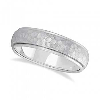 Mens Satin Hammer Finished Wedding Ring Wide Band Palladium (6mm) This modern carved design ring is crafted in palladium and is ideal for men. The unique ring has a satin hammer finished inlay and a ridged edge design. This inlaid band gentlemen's ring is comfort-fit with rounded inside edges to provide a perfect fit for him. Wear this contemporary dome style men's ring as a wedding band, as an anniversary ring, or as a fancy right hand fashion ring. Available in other finishes, other widths, and other precious metal types.