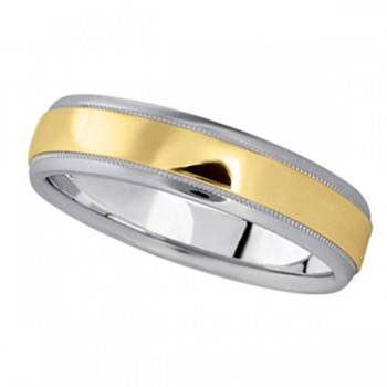 Men 39s Carved TwoTone Wedding Band in 18k White Yellow Gold 5mm