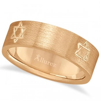 Jewish Star of David Mens Carved Wedding Ring Band 14k Rose Gold (7mm) This contemporary ring for men features a Jewish Star of David carved into the 14kt pink gold (rose gold) band. The fancy wide band ring showcases the holy Jewish religious symbol with a satin finish.This modern flat-style gents ring band is comfort-fit with rounded inside edges to provide a perfect fit for him. Wear this unique men's ring as a wedding band, as an anniversary ring, or as a right hand fashion ring. Available in other finishes, other widths, and other precious metal types.