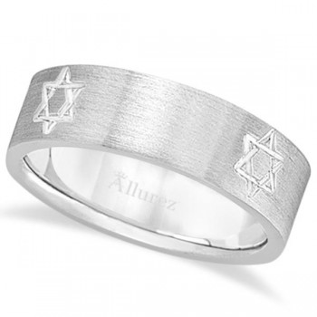 Jewish Star of David Mens Carved Wedding Ring Band 18k White Gold (7mm) This contemporary ring for men features a Jewish Star of David carved into the 18kt white gold band. The fancy wide band ring showcases the holy Jewish religious symbol with a satin finish.This modern flat-style gents ring band is comfort-fit with rounded inside edges to provide a perfect fit for him. Wear this unique men's ring as a wedding band, as an anniversary ring, or as a right hand fashion ring. Available in other finishes, other widths, and other precious metal types.