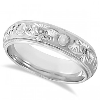 Hand Engraved Floral Wedding Ring in 18k White Gold (6mm) For men and women who seek exquisite craftsmanship, this carved wedding band is the perfect style. Made of 18k white gold, this floral wedding ring features a glass bead finish with high polished finished edges for that extra shine you so desire. The inside of this band is rounded for an irresistible comfort fit.Wear this as a right hand fashion ring or as an anniversary ring.