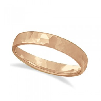 Carved Hammered Finish Wedding Ring Band 14k Rose Gold (3mm) This unisex carved wedding ring is crafted in 14kt pink gold (rose gold) and showcases a shiny hammer finished band. For men or for women that do not want to sacrifice style for comfort, this modern low dome styled band is comfort-fit. Rounded inside edges provide a perfect fit for him or for her. Wear this contemporary men's/women's carved ring as a wedding band, as an anniversary ring, or as a fancy right hand fashion ring. Available in other finishes, other widths, and other precious metal types.