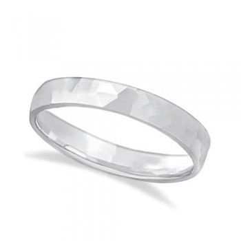 Carved Hammered Finish Wedding Ring Band Platinum (3mm) This unisex carved wedding ring is crafted in platinum and showcases a shiny hammer finished band. For men or for women that do not want to sacrifice style for comfort, this modern low dome styled band is comfort-fit. Rounded inside edges provide a perfect fit for him or for her. Wear this contemporary men's/women's carved ring as a wedding band, as an anniversary ring, or as a fancy right hand fashion ring. Available in other finishes, other widths, and other precious metal types.
