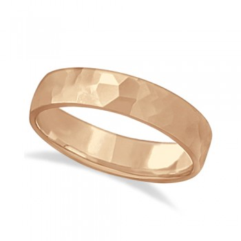 Men's Hammered Finished Carved Band Wedding Ring 14k Rose Gold (5mm) This contemporary men's designer ring is crafted in 14kt pink gold (rose gold) and features a shiny hammer finished band. For men that do not want to sacrifice style for comfort, this low dome styled band is comfort-fit with rounded inside edges to provide a perfect fit for him. Wear this modern carved gentlemen's ring as a wedding band, as an anniversary ring, or as a fancy right hand fashion ring. Available in other finishes, other widths, and other precious metal types.
