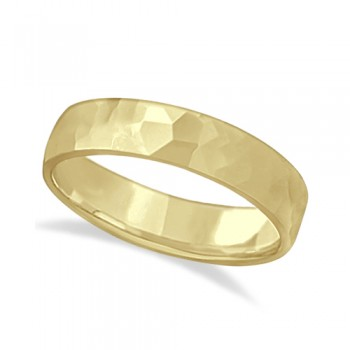 Men's Hammered Finished Carved Band Wedding Ring 14k Yellow Gold (5mm) This contemporary men's designer ring is crafted in 14kt yellow gold and features a shiny hammer finished band. For men that do not want to sacrifice style for comfort, this low dome styled band is comfort-fit with rounded inside edges to provide a perfect fit for him. Wear this modern carved gentlemen's ring as a wedding band, as an anniversary ring, or as a fancy right hand fashion ring. Available in other finishes, other widths, and other precious metal types.